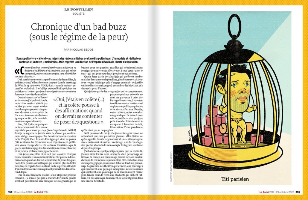 Nicolas Bedos Confiné à Paris